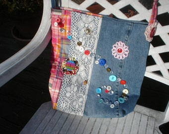 Recycled Blue Jean with Buttons and Lace Bag
