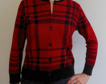 Karen Lessly 90s Vintage Red and Black Plaid Cardigan Size Petite Medium PM 100% Acrylic