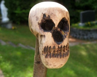 Skull Head, One piece hand carved stick cane, Creation Frank Levino