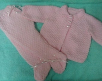 Beautiful baby hand knitted pram suit