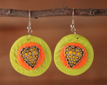 My Colourful Hearts Earrings - See the Love Collection - Green Orange and Yellow Earrings - Gift for Her