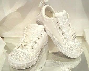 Custom Kids Flower Girl White Wedding Converse Sneakers Swarovski Crystal Rhinestone Flat Shoes Bridal Bling