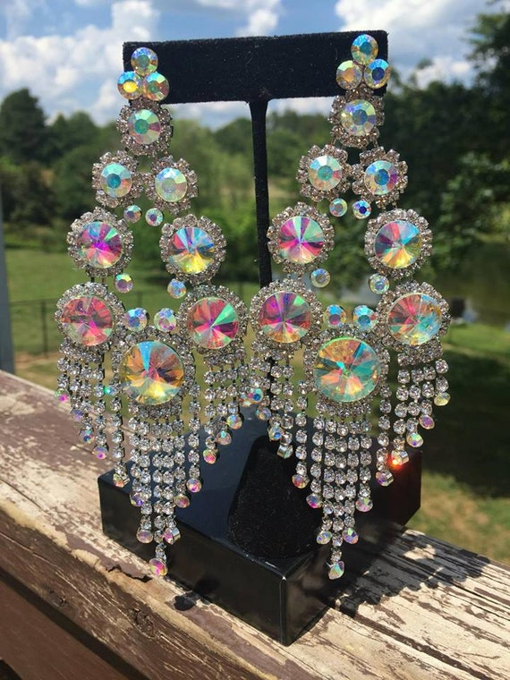 Large chandelier earrings long chandelier earrings huge like this item mozeypictures Image collections