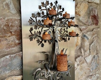 3D Tree of Life Metal Wall Art, Tea Light and Votive Candle Holder