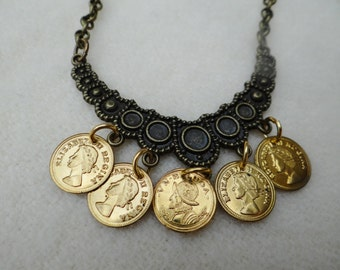 Gold Coin Assemblage Brass Bib Necklace - NRU231