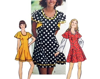 70s Simplicity 5466 Princess Seamed Mini-Dress with Flared Skirt and Flutter Sleeves, Factory Folded, Uncut Sewing Pattern Size 10