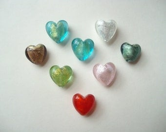 Puffy glass heart beads (8), foil hearts, multi colour hearts, 20mm heart bead, foil lined beads, lot of 8 hearts