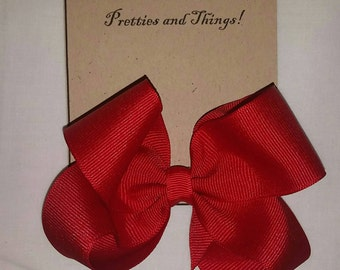 Red, Boutique Hair bows, Single prong clip, Grosgrain Ribbon
