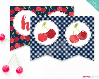 Instant Download Sweet Cherry Printable Party Banner, Red Cherry Happy Birthday banner, Cherry Party Printable, Vintage Cherry