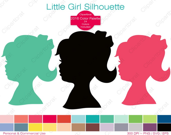LITTLE GIRL Silhouette Clipart Commercial Use Clipart Child Shape Graphic 2016 Color Palette 24 Color Digital Sticker Vector Png Svg Eps
