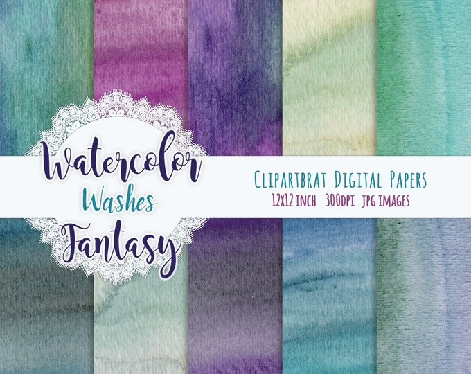 WATERCOLOR Digital Paper Commercial Use Background Paper Aqua Teal & Purple Watercolor Washes REAL Hand-Painted Fantasy Watercolor Textures