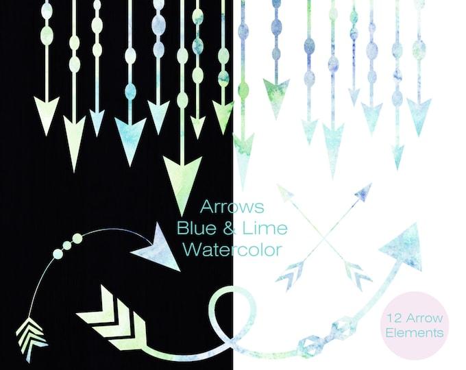 WATERCOLOR ARROW Clipart Commercial Use Clipart Arrow Graphics Arrow Border Garland Frames Banner Rainbow Blue Green Clipart Tribal Clip Art