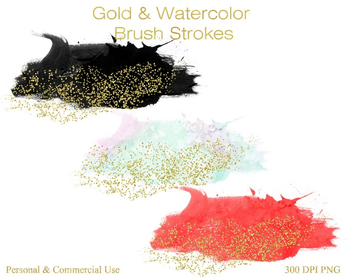 CONFETTI BRUSH STROKES Clipart Commercial Use Clipart 12 Watercolor Paint Splotch Gold Confetti Graphics Watercolor Brushes for Logo Design