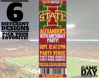 Iowa State Cyclones Birthday Invitation - Printable Iowa State University Invite