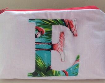 Personalised flamingo make up/ cosmetic bag