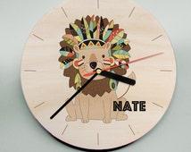 Lion Clock / Jungle clock / Wooden Clock / Name Clock / Nursery Clock / Kids Room Clock / Personalised Clock / Personalized Clock