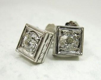 1590 Solid Platinum Vintage 0.40 Carat Old Mine Cut Diamond Stud Earrings