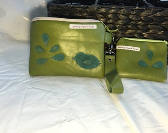Green leather wristlet combo