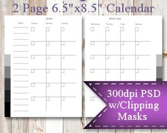 "INSTANT DOWNLOAD  2 Page Calendar Template,  6.5""x8.5"" Transparent PSD"