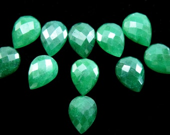 Green faceted ONYX pear shape cabochons