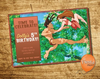 "Personalized ""Tarzan & Jane"" Party Invitation Ready to Print/Text/Email"