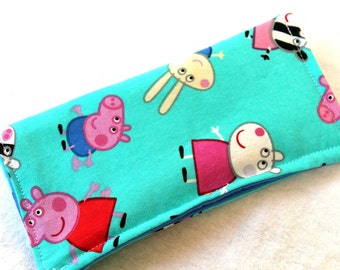Peppa Pig Eyeglass Case Aqua, Peppa Pig Sunglass Case, Aqua Peppa Pigs and Birds Glass Case, Green Peppa Pigs SunGlass Case,  Glass Case