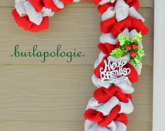 Candy Cane Burlap Wreath, Holiday Wreath Christmas Wreath, Winter Wreath, Red & White Striped Wreath. **READY TO SHIP**