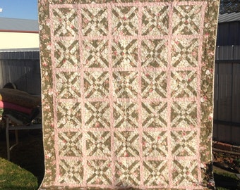 Green and Pink flannel quilt