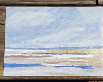 The shore. Original acrylic painting. 5x7 painting, beach scene