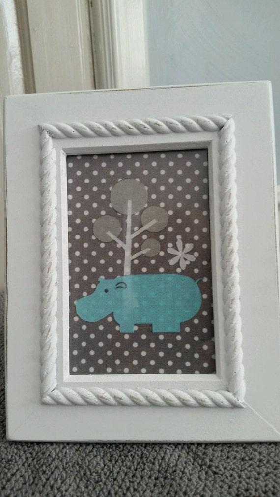 Hippo Framed Wall Art Hippo Nursery Art Children S