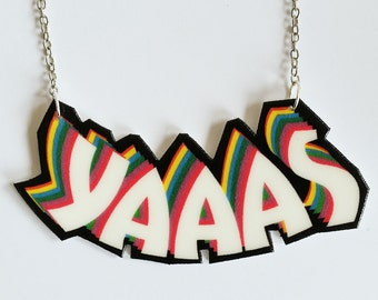 "Illustrated ""YAAAS"" necklace // statement necklace // shrink plastic jewelry // quirky jewelry // gift for her"
