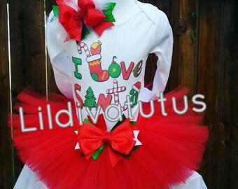 Handmade I Love Santa tutu set / Christmas shirt / Christmas tutu set