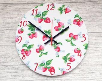Strawberry Print Fabric Wall Clock
