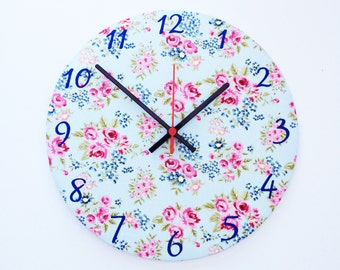 Country Floral Fabric Clock