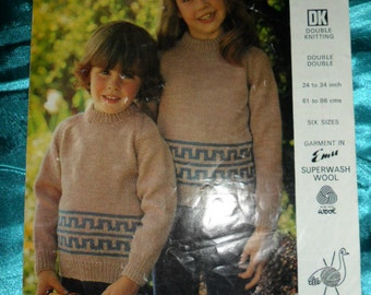 Vintage Knitting Pattern, Emu  childs jumper DK pattern  FREEPOST UK