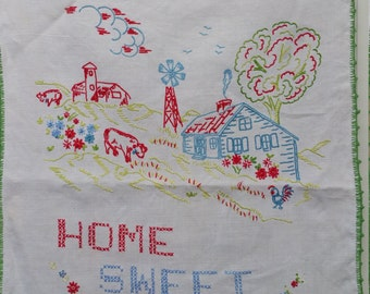 HOME SWEET HOME Embroidered Vintage Tea Towel