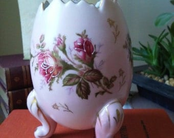 Napcoware Hatched Egg Pink Floral Footed Vase