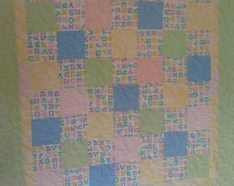 Baby Quilt, ABC's Quilt, Boy or Girl, Flannel, Pastels,  Crib Quilt