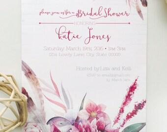 Boho Chic Bridal Shower Invitation | Elegant | Flowers | Feathers | Invitation