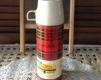 Vintage Red Black Tartan Plaid Thermos Shabby Home Decor