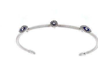 Evil Eye, Silver & Cubic Zirconia Evil Eye Bracelet/Bangle