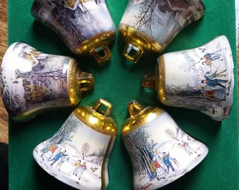Set of six (6) Currier & Ives Vintage Bell-shaped Ornaments, Seasons Greetings