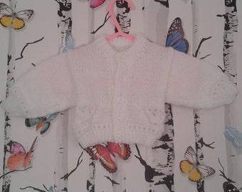Newborn Cardigan, Baby Girl Cardigan, Knitted White Cardigan, Baby Girl, Handmade, Hand Knitted.