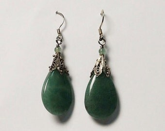 Tibetan Apple Green Jade Pendant Silver Dangling Earrings