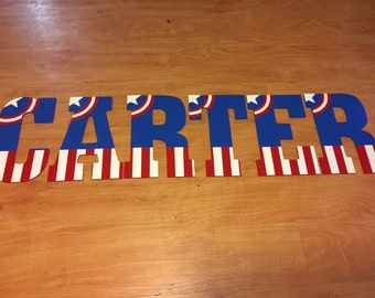 10.5in handpainted captain America hanging letters