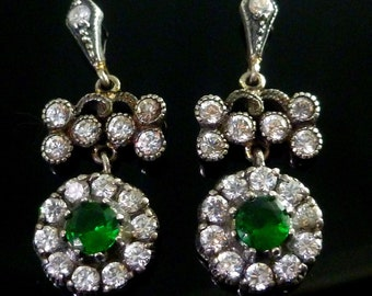 Spectacular Long Silver/gold White Green Paste Earrings