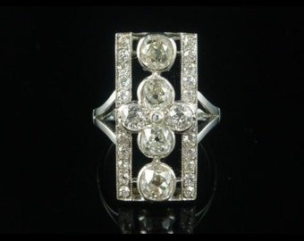 Antique Art Deco Diamond Ring 4ct Old Cut Diamond Circa 1920
