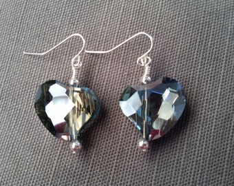 Blue Glass Faceted Heart Dangles