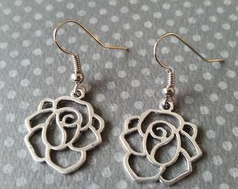 Silver Rose Dangles