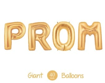 """Giant PROM Balloons -  40"""" Inch Gold Mylar Balloons in Letters P-R-O-M  - Metallic Gold - Prom Balloons, Prom Ask, Prom Decorations"""